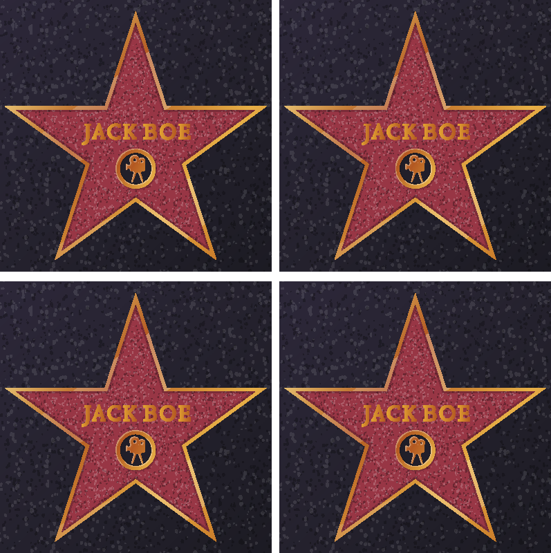 TenStickers. Sous-verre Etoile Hollywood personnalisable. Dessous de verre original étoile d'Hollywood. Ce dessous de verre personnalisable est créé sur un fond rouge avec une étoile de couleur orange imprimée dessus.