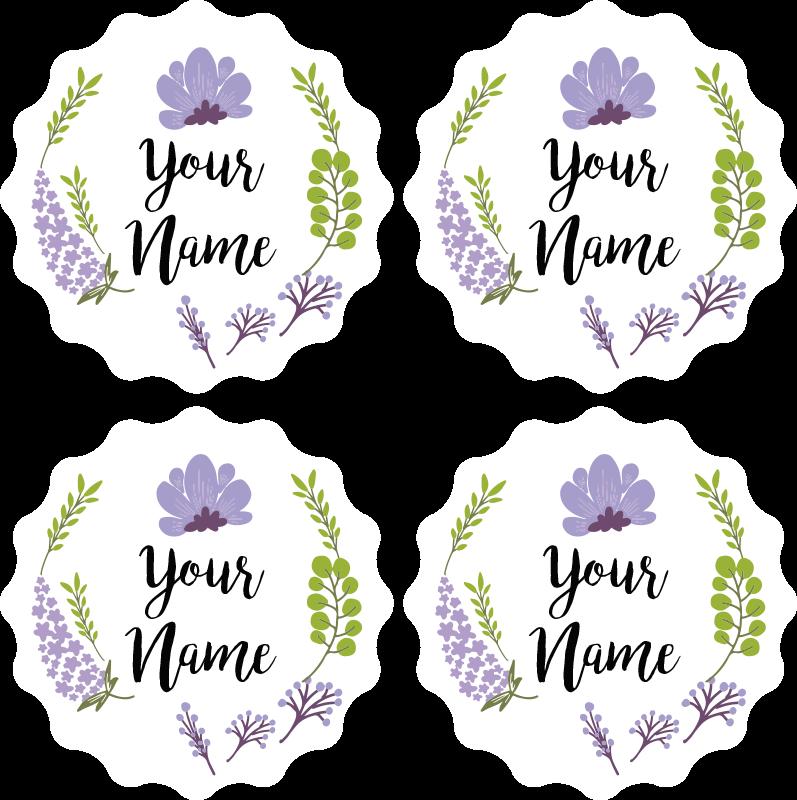 TenStickers. Sottobicchiere  personalizzabile Floreale con nome. Personalizza il tuo nome o il testo desiderato nel nostro sottobicchiere personalizzato originale caratterizzato da disegni floreali ornamentali. Facile da usare e mantenere.