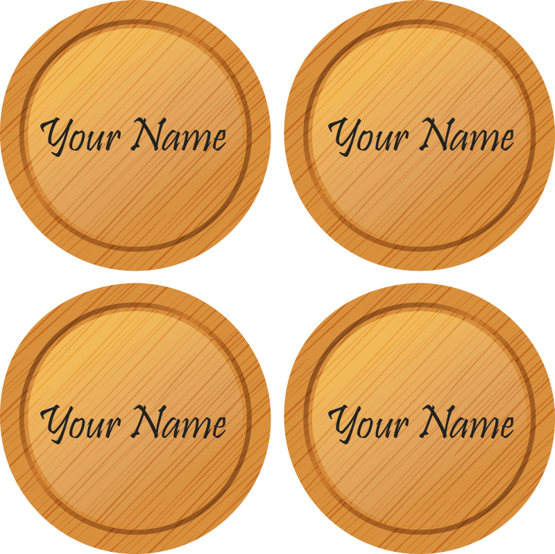 TenStickers. wood texture with text personalised beer mats. Personalize your name on our original wood texture coasters . This product is nice to serve drinks for your guest and family.