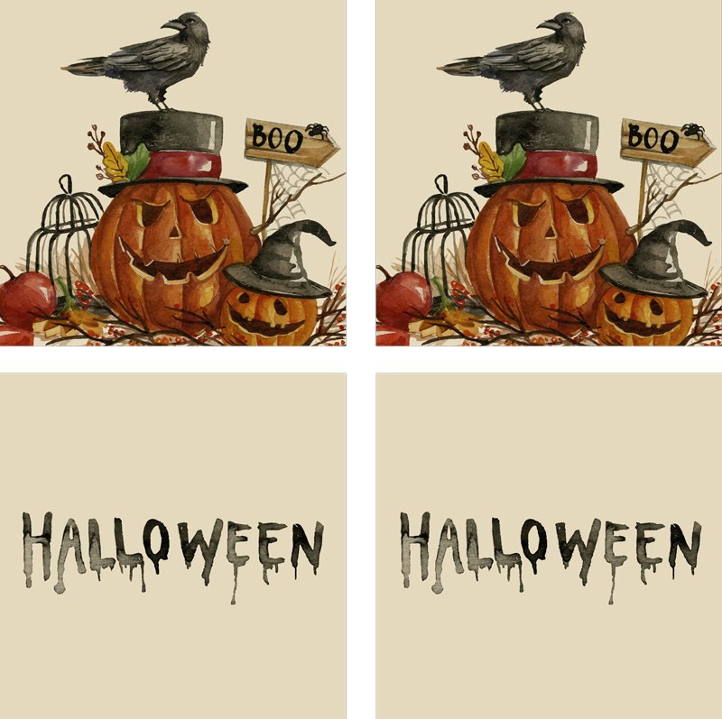 TenStickers. Akvarel halloween pít dráha. Nápojová dráha s textem halloween navrženým na klidném pozadí. Snadno se udržuje a je vyrobena z vysoce kvalitního materiálu.