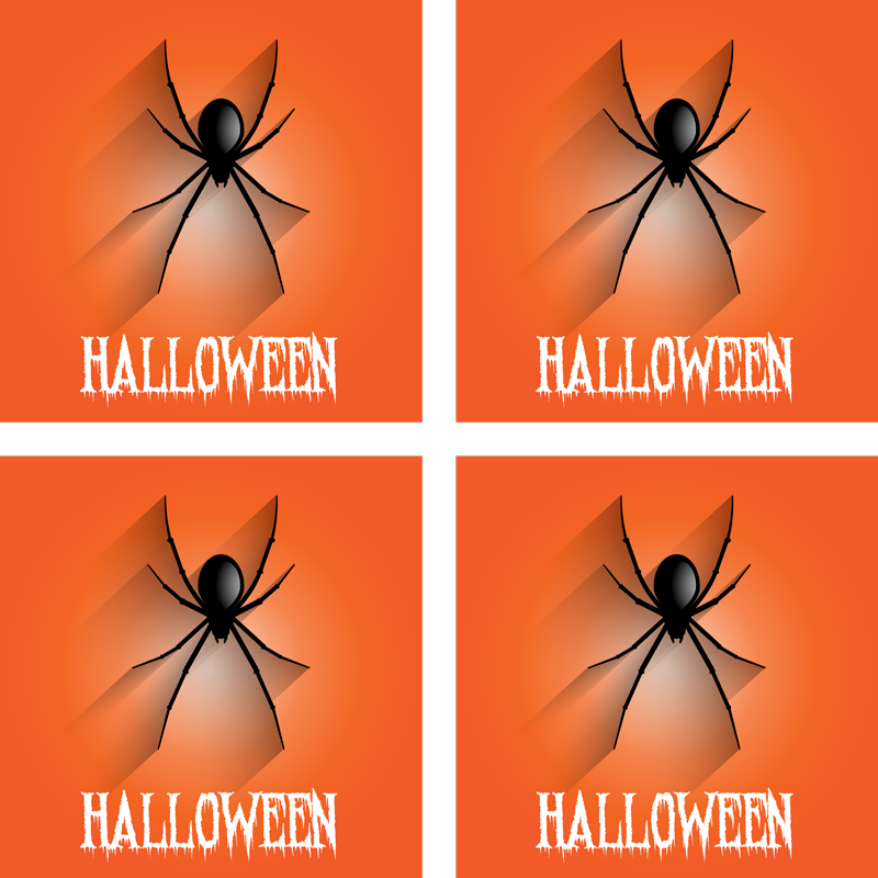 TenStickers. Spider Halloween drink coaster. An easy to maintain drink coaster with a design on an orange background with a realistic creeping spider It has a text that says '' Halloween''.