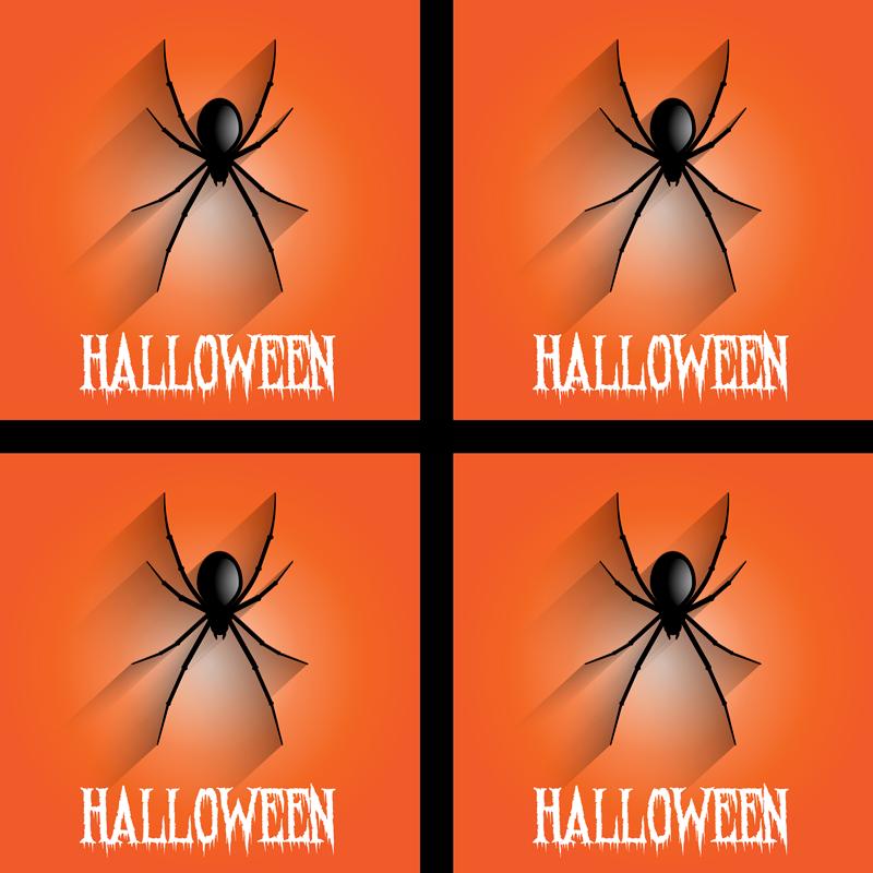 TenStickers. паук хэллоуин напиток каботажное судно. Легкая в обслуживании подставка для напитков с рисунком на оранжевом фоне с реалистичным ползучим пауком, на нем есть текст «Хэллоуин».