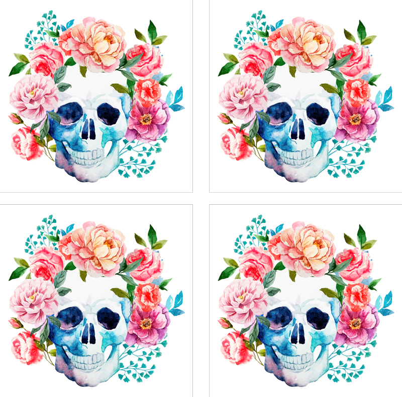 TenStickers. Skull flowers drink coaster. Original drink coaster with skull and flower design for Halloween festival. It is easy to maintain and made from high quality material.