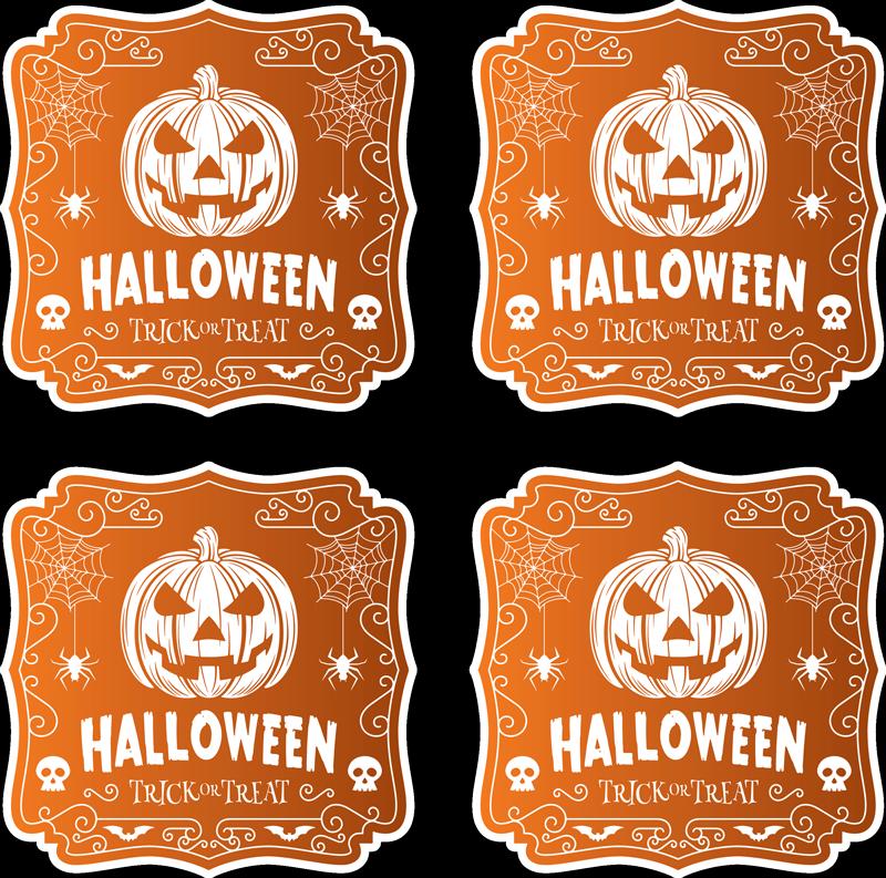 TenStickers. Podkładka pod kubek dynie Halloween. Podkładki pod kubek z wzorem dyni na Halloween. Niesamowity wzór, dzięki któremu Twój stół nabierze wdzięku i stylu!