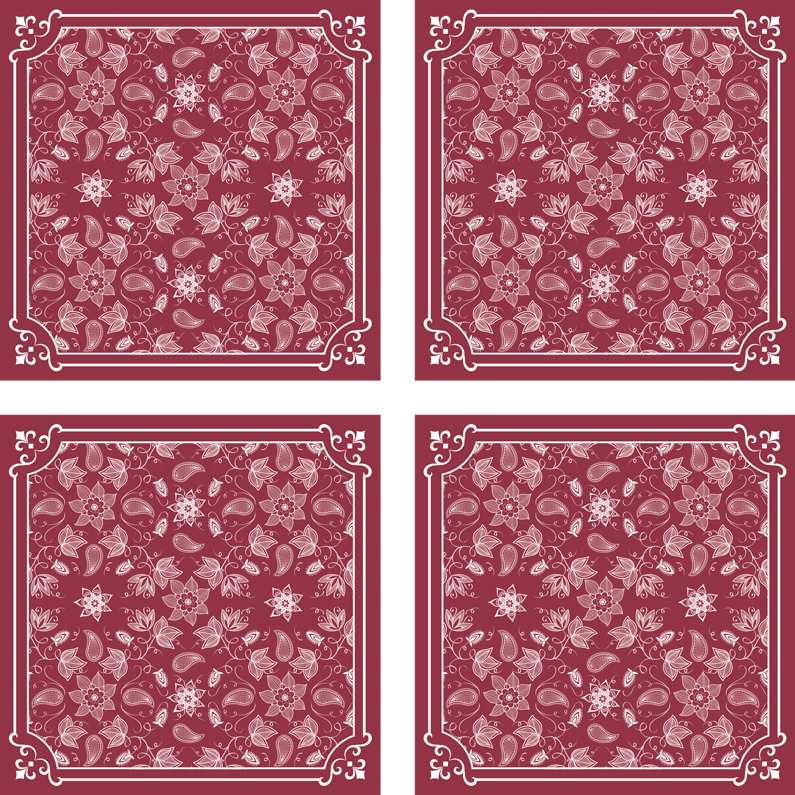 TenStickers. Beautiful paisley flowers drink coaster. An amazing redcolor drink coasterwith ornamental paisley design. It is made with high quality material and very easy to maintain.