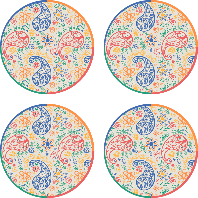 TenStickers. Colorful paisley drink coaster. Easy to clean drink coaster made with ornamental paisley design. It is made with high quality material and easy to clean and store.