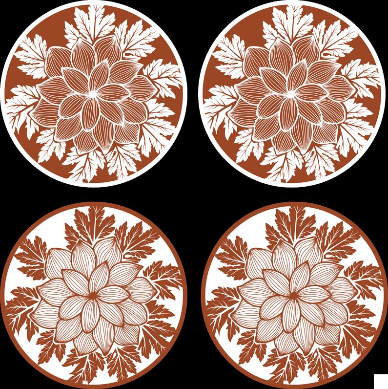 TenVinilo. Posavasos floral azulejo de paisley. Decora la mesa de comedor para cenas familiares con nuestro original posavasos estilo paisley con flores ¡Envío a domicilio!