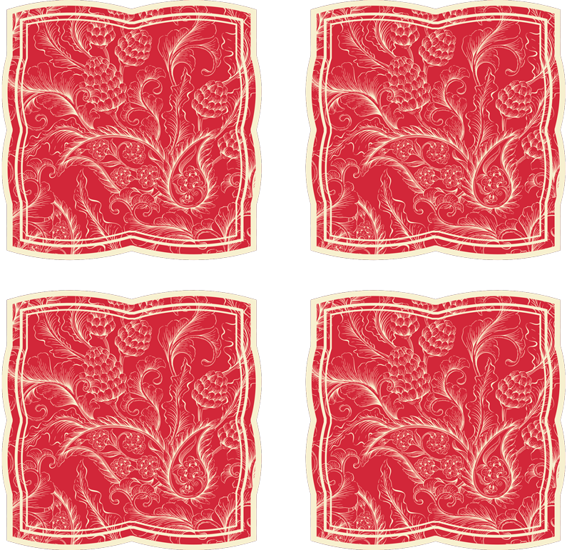 TenStickers. Paisley Illustration drink coaster. An amazing drink coaster with paisley design on a red background. It is original and made from high quality material with resistant ability.