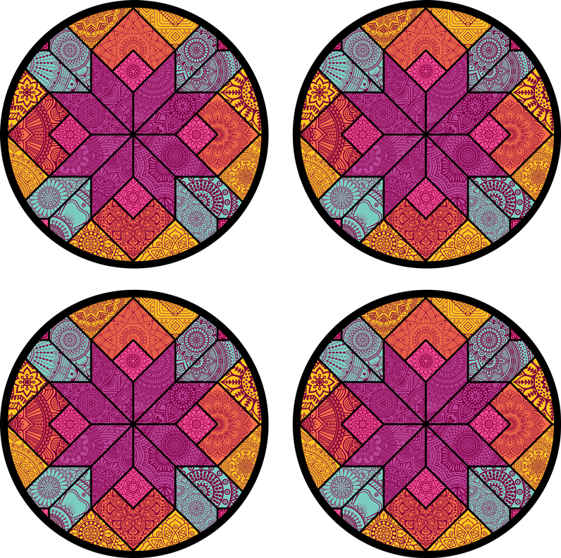 TenStickers. Paisley mosaic drink coaster. We have a lovely multicolour tribal drink coaster design patterned in geometric style. It is easy to maintain and available in different pack size.