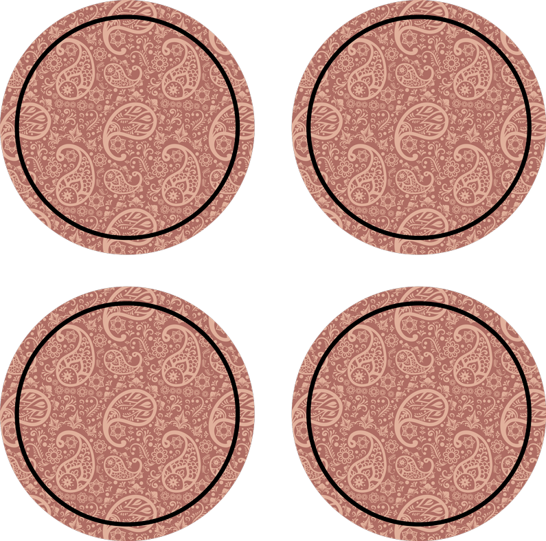 TenStickers. Paisley pattern drink coaster. Round drink coaster with paisley design on a coloured background. It is easy to maintain and made from high quality material.