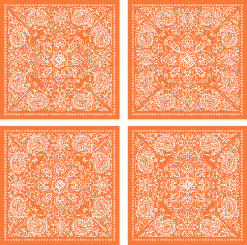 TenStickers. Paisley tile design drink coaster. You would love our drink coaster to serve drinks on your table space. It elegant design of paisley printed in multiples on an orange background.
