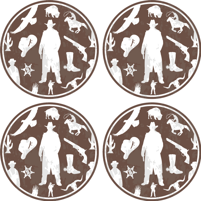 TenStickers. Cowboy and horses pattern drink coaster. Round drink coaster to add to your collection of home decor. This design is created with featured elements of cowboy western style.