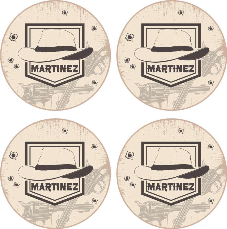 TenStickers. Cowboy hat with name drink coaster. Buy our original drink coaster with a  fantastic western style design.  It is a customisable name cowboy's hat design. The product is easy to maintain.
