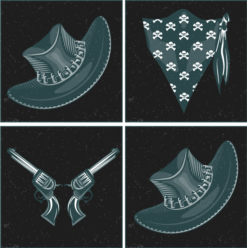 TenStickers. Cowboy hat, flock and revolvers coaster. Drink coaster with different western pattern design .The design is featured with a cowboy revolver and a scarf. It is available in  packs.