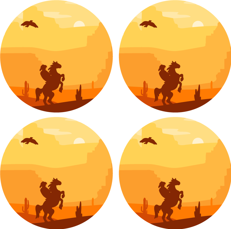 TenStickers. Cowboy Landscape drink coaster. Enjoy this landscape drink coaster with beautiful view of a cowboy riding a horse at sun set in the desert. It is easy to maintain and store.