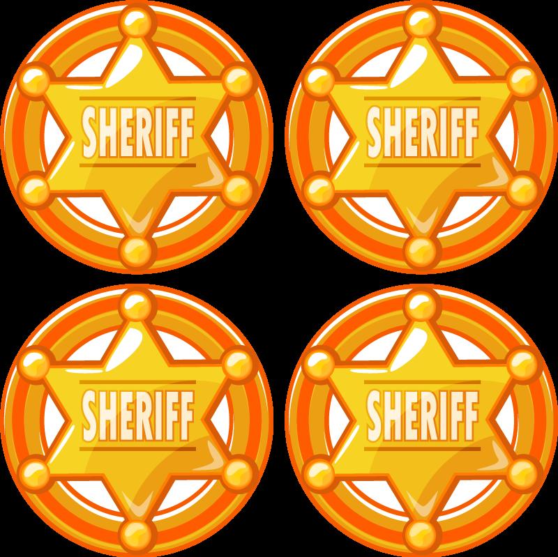 TenStickers. Sous-verre rond Etoile de shérif. Dessous de verre original conçu avec un insigne emblématique de shérif de couleur or et orange. Il est facile à entretenir et à stocker.