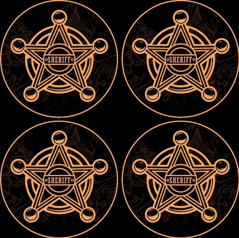 TenStickers. Sheriff-badge onderzetter. Cowboy sheriff ster onderzetter gemaakt met het ontwerp van een sheriff-badge. Het product is gemaakt van goede kwaliteit en is gemakkelijk te onderhouden.
