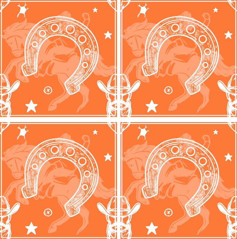 TenStickers. Horseshoe drink coaster. Horseshoe design drink coaster made on an orange background.  A design for horse lovers and riders to represent a bit of their personality.