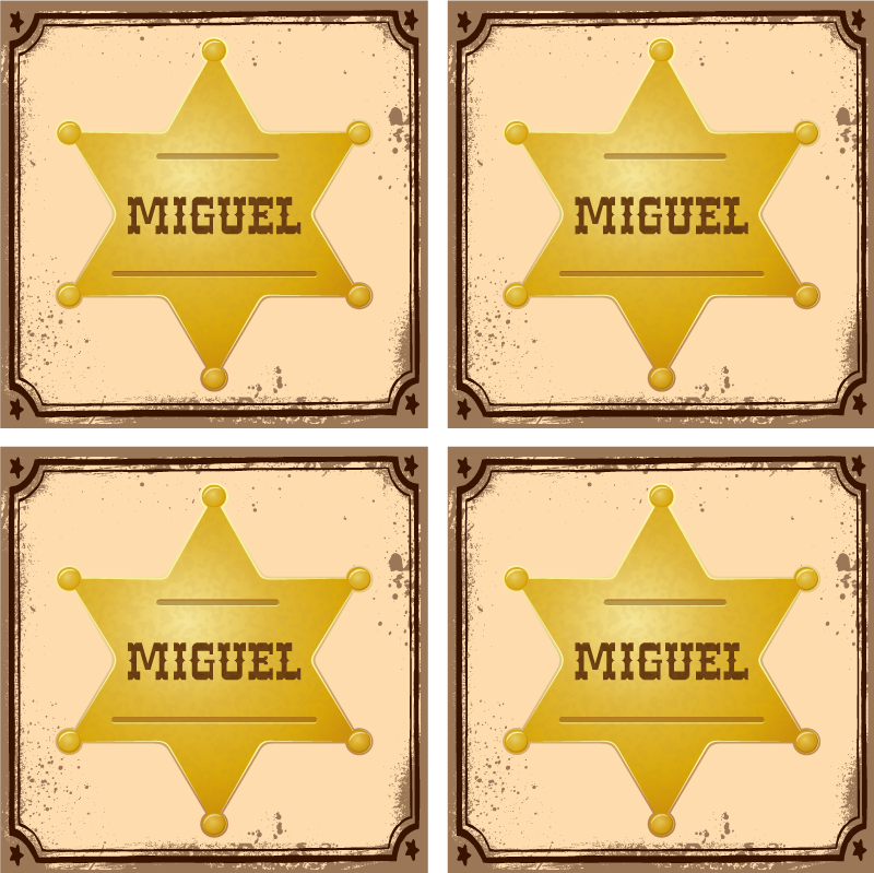 TenStickers. Sheriff badge with name personalised beer mats. Special drink coaster designed with an iconic sheriff officer's badge in golden colour. It is personalisable with your own name.