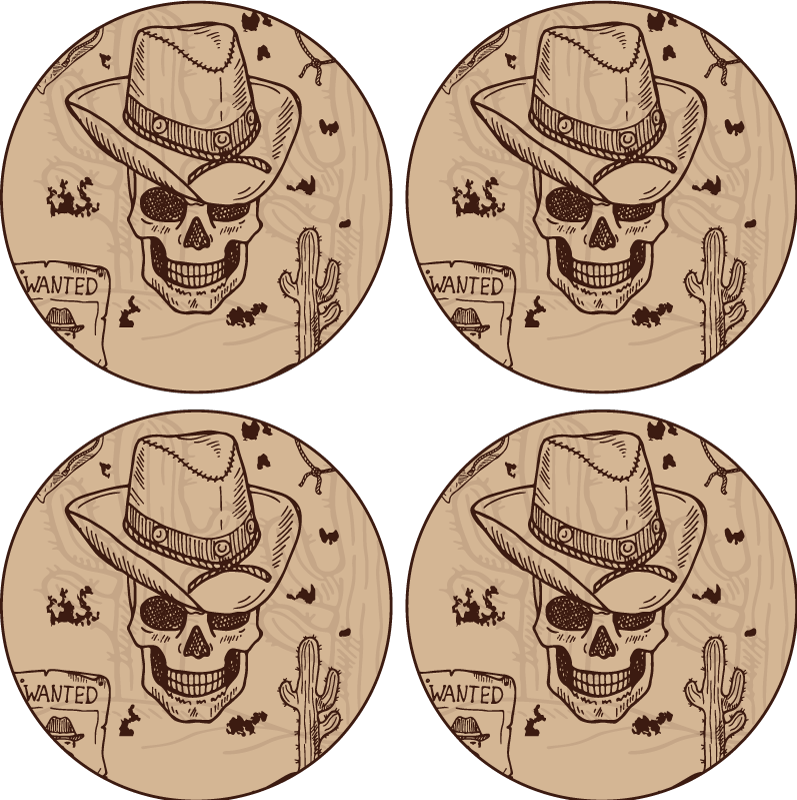 TenStickers. Western icons drink coaster. You want subtle addition to your home decor? then our cowboy western iconic drink coaster is all you need. It is made of high quality material.