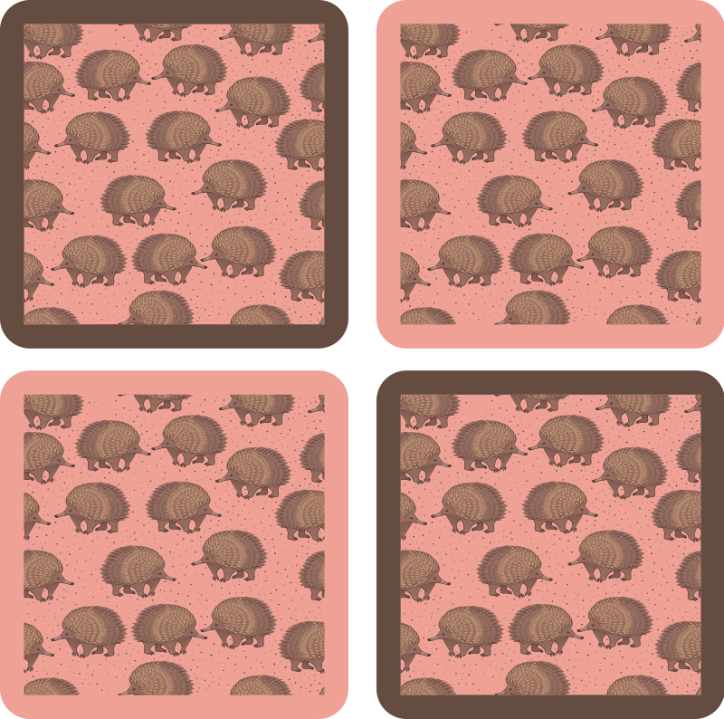 TenStickers. porcupine and dots drink coaster. Great and ideal drink coaster for cups, tea mugs and wine glasses.  You can order this creative porcupine drink coaster design from us online .
