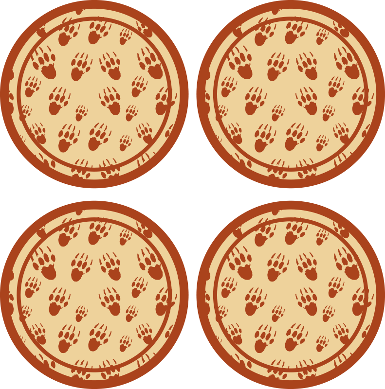 TenStickers. Porcupine footprint drink coaster. Simple design round drink coaster design with red footprints of porcupines. It is made from high quality material and easy to maintain.