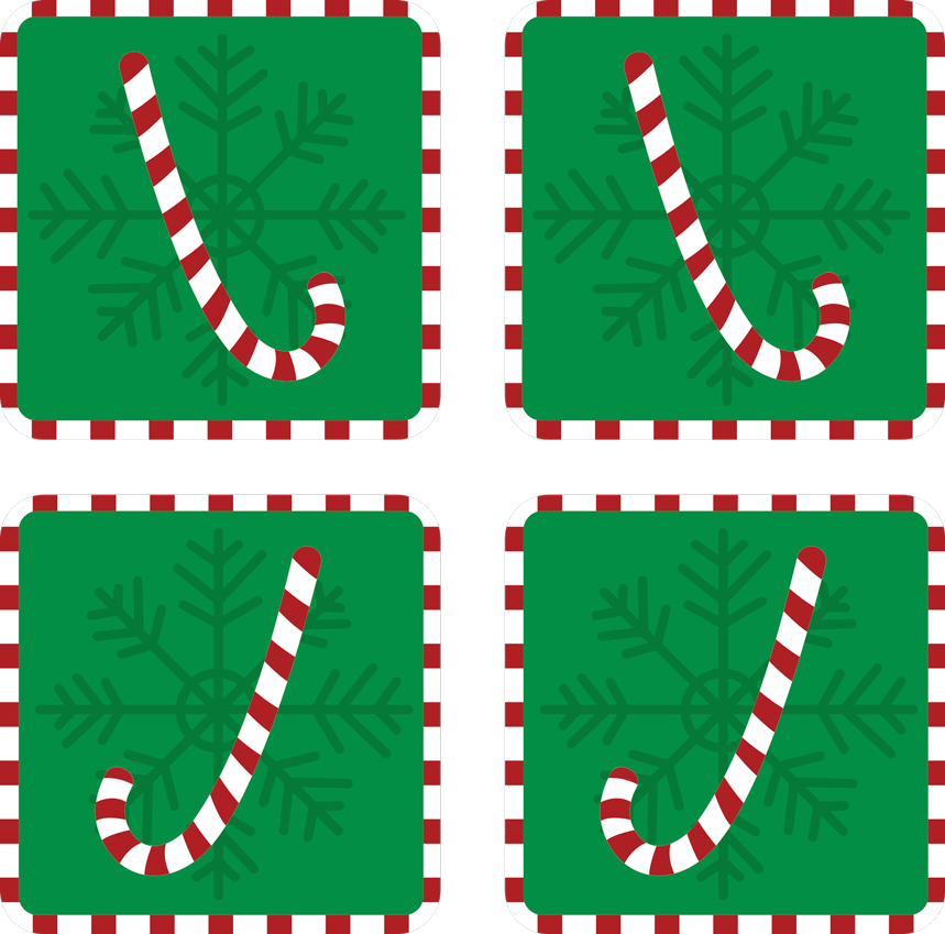 TenStickers. Candy Christmas drink coaster. A green background with Candy Christmas drink coaster. The design host candy stick with ornamental feature. Easy to maintain and of high quality.