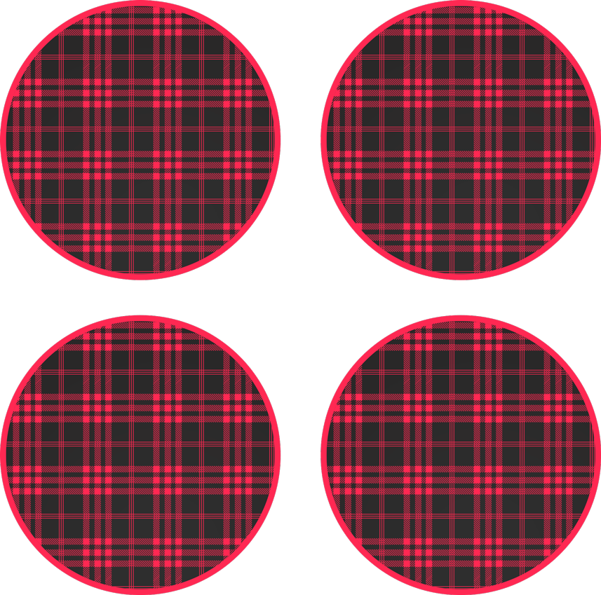 TenStickers. Christmas tartan pattern drink coaster. Christmas tartan pattern drink coaster. The design has stripes of red and black depicting a tartan pattern. Made from high quality material.