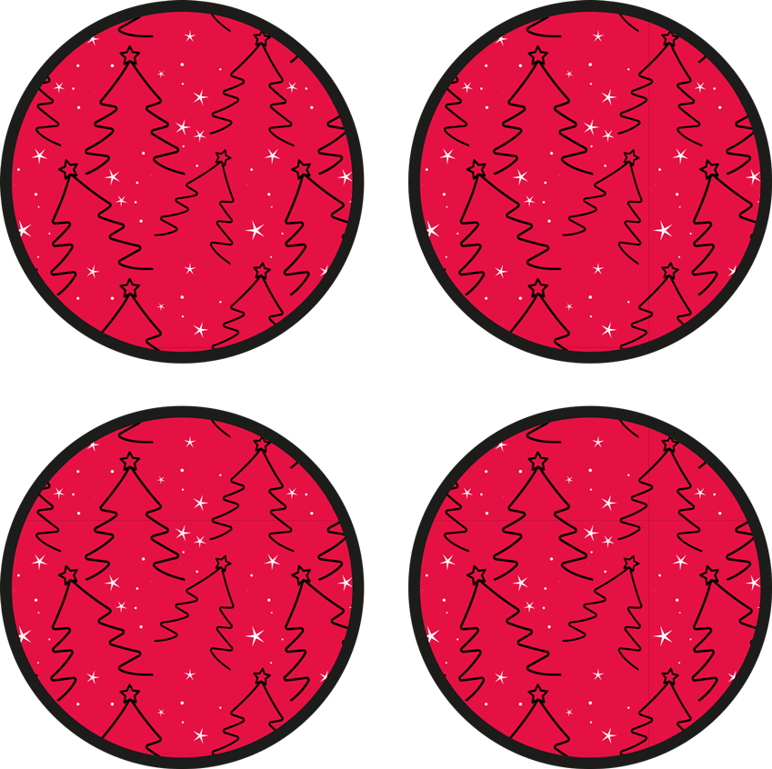TenStickers. Christmas Tree line drink coaster. A round drink coaster design featured with ornamental Christmas tree design, it background is red with snow prints. Made of high quality material.