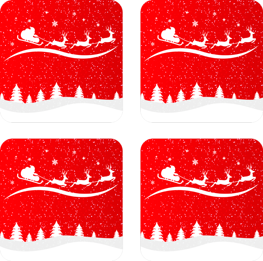 TenStickers. Christmas Wave drink coaster. Santa Claus featured cup coaster design.  A Christmas background design with Santa Claus riding on a cart pulled by a reindeer with gift presents.