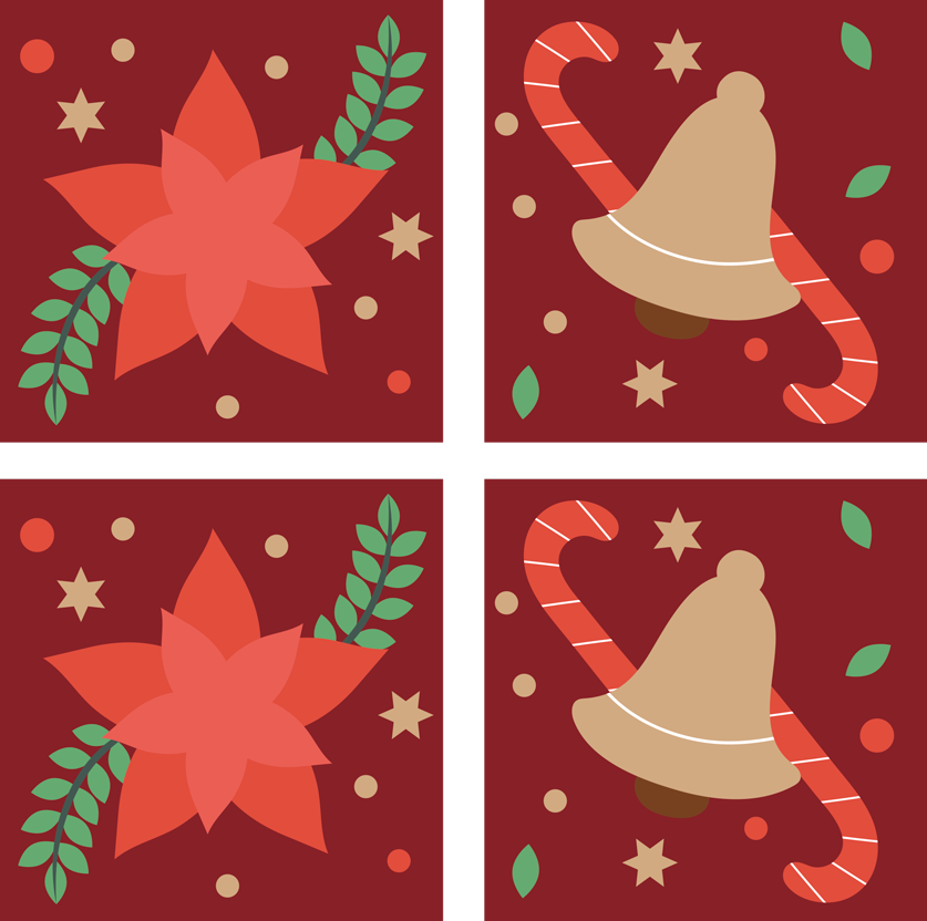 TenStickers. Christmas candy pattern drink coaster. A lovely Christmas drink coaster design with ornamental Christmas element such as stars, snow print, candy and flower on a red background.