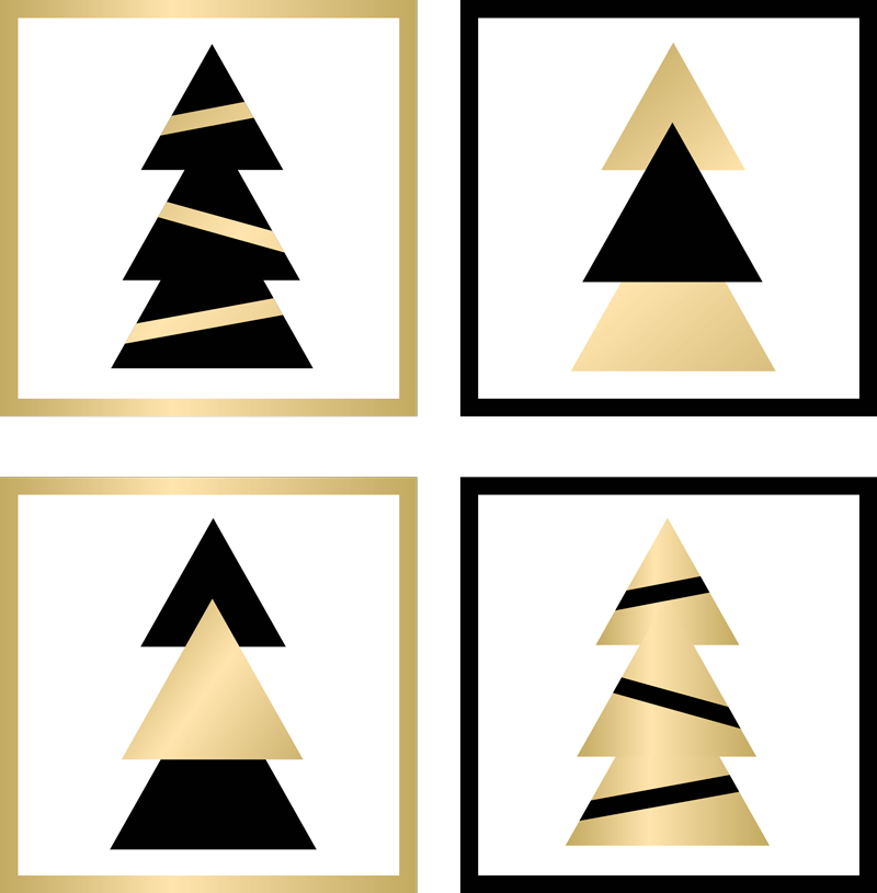 TenStickers. Christmas Elegant tree pattern drink coaster. Christmas elegant tree pattern drink coaster.  It is made with an ornamental Christmas tree design in gold and black color.