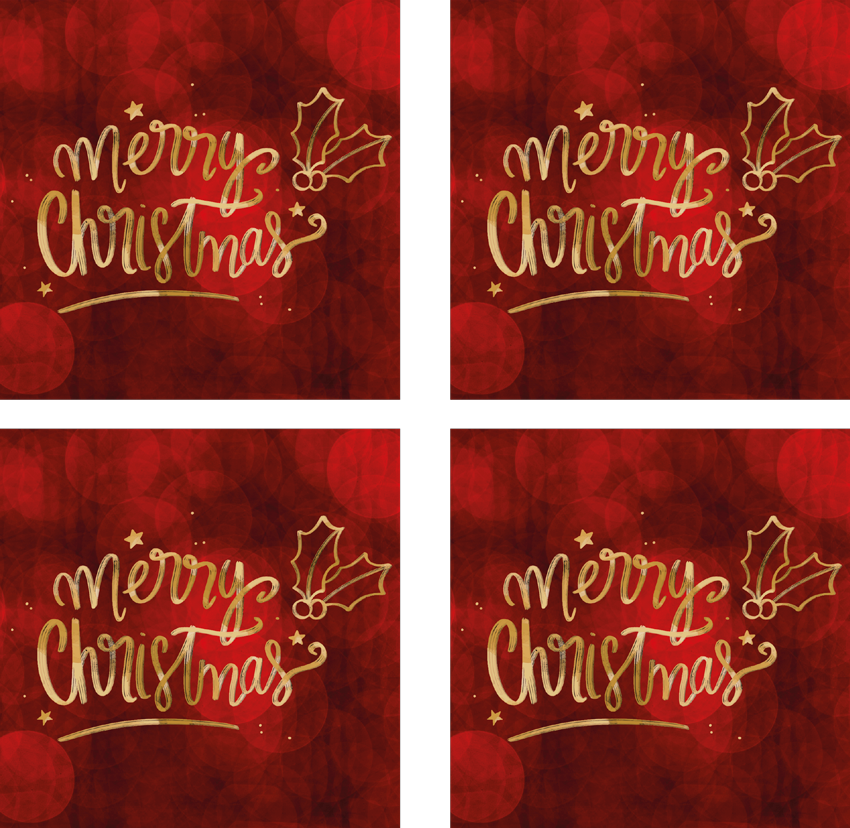 TenStickers. Merry Christmas in Red drink coaster. Red Snowflakes drink coasterfor home and commercial food space. A squared pattern design with ornamental text that says ''Merry Christmas''.