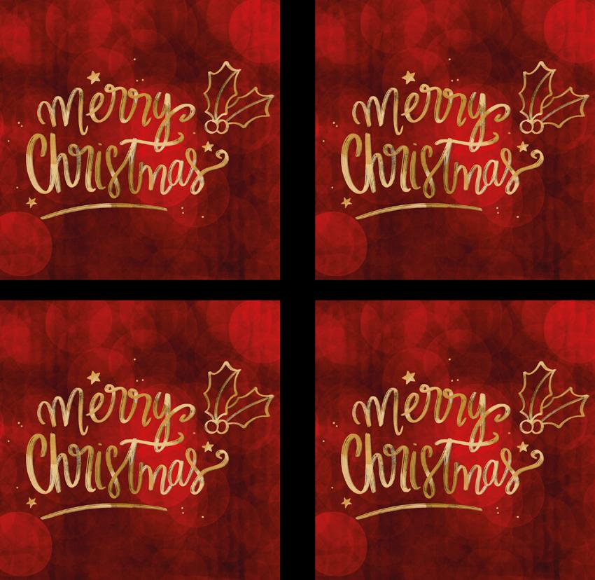 TenStickers. 빨간 음료 코스터에서 메리 크리스마스. 빨간 눈송이는 가정 및 상업용 음식 공간을위한 코스터를 마신다. ``메리 크리스마스 ''라는 장식용 텍스트가있는 사각형 패턴 디자인.