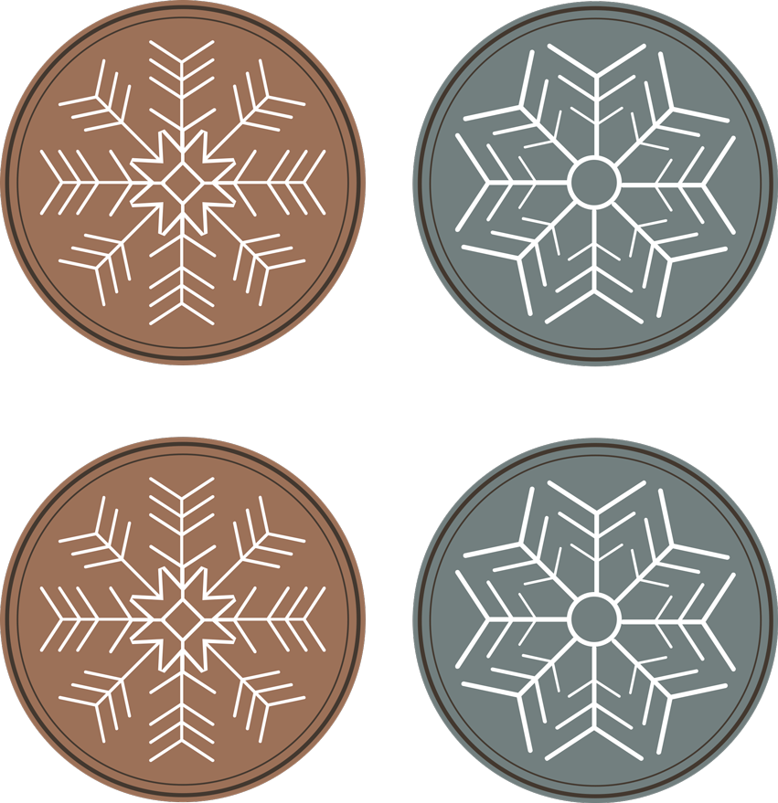 TenStickers. Snowflakes pattern coaster. A modern drink coaster design that can be used to enjoy drink with family and friends at Christmas. It has the design of snowflakes in plain colour.