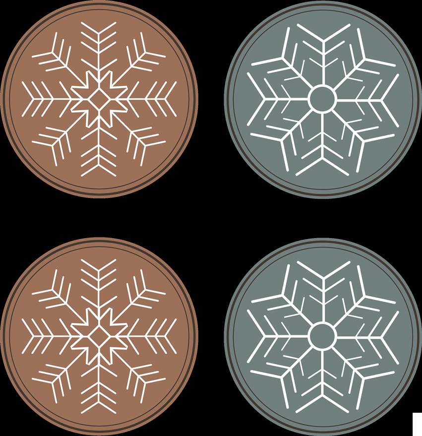 TenStickers. 雪花图案过山车. 一种现代的杯垫设计,可用于在圣诞节与家人和朋友一起享用饮料。它具有纯色雪花设计。