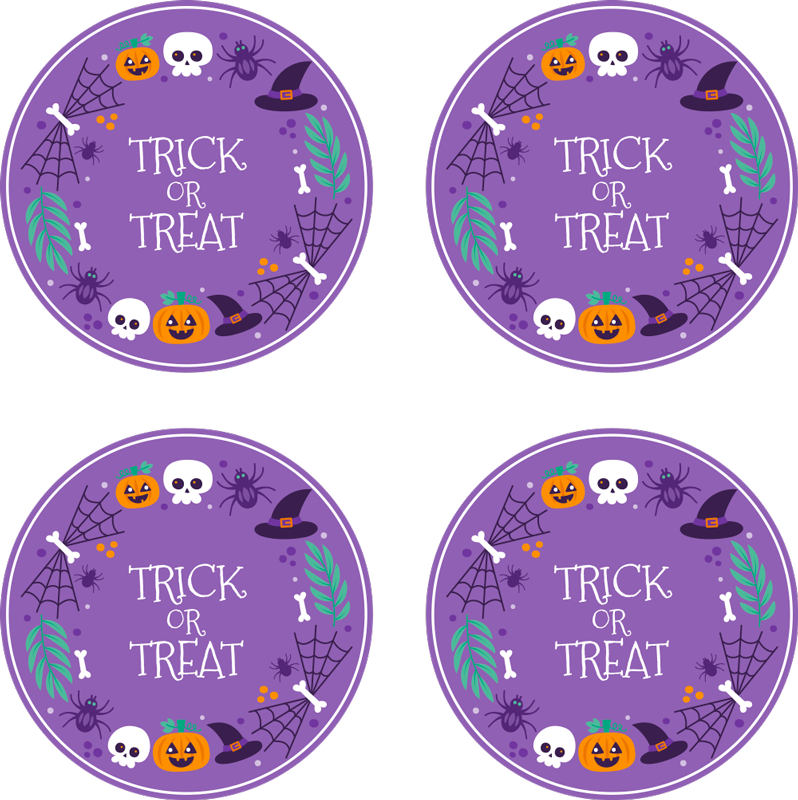 TenStickers. Halloween colorful Halloween drink coaster. A round drink coaster design with a purple colour background.  On the design is inscribed trick or treat. Made of high quality material.