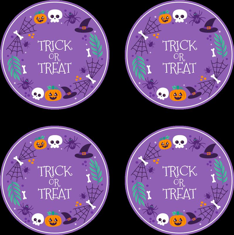 TenStickers. Halloween farverige halloween drikke coaster. En rund drik-og-udlæg design med en lilla farve baggrund. På designet er indskrevet trick or treat. Lavet af materiale af høj kvalitet.