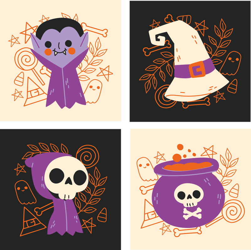 TenStickers. Cute Halloween monsters drink coaster. Cute Halloween monsters drink coaster. A suggested design for kids for Halloween, it contains cute little ghost with other ornamental features.