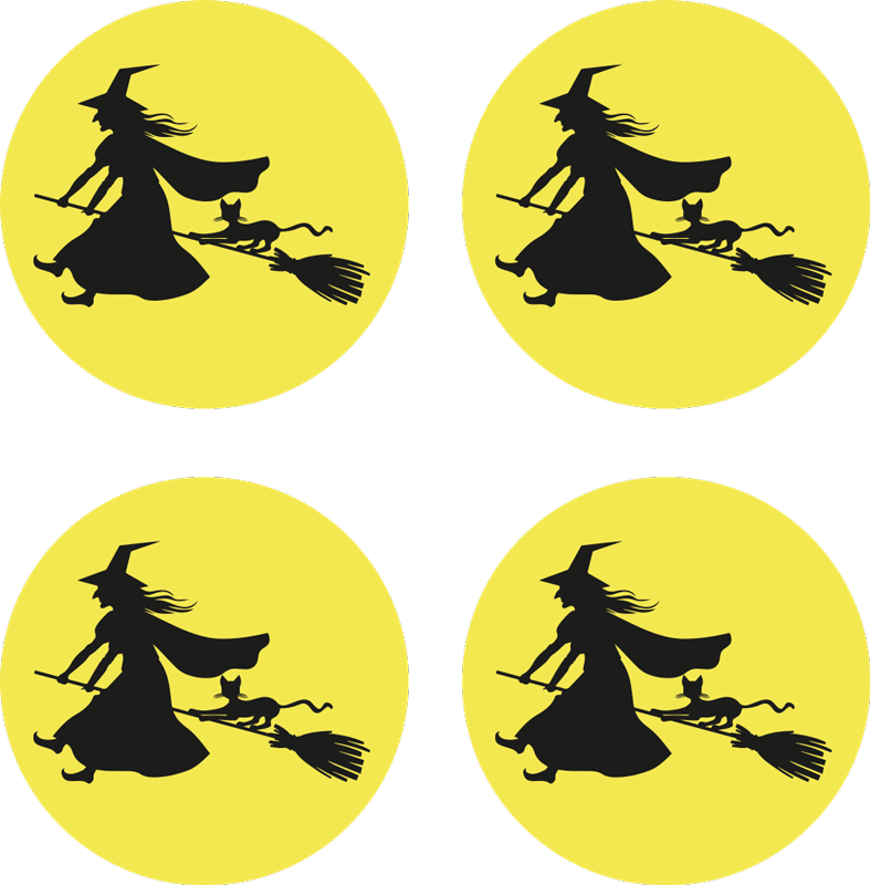 TenStickers. Witch, moon and black cat Halloween drink mat. Yellow round drink coaster with a black flying witch design.  An Halloween inspired design to serve guest and friends all your amazing drink .