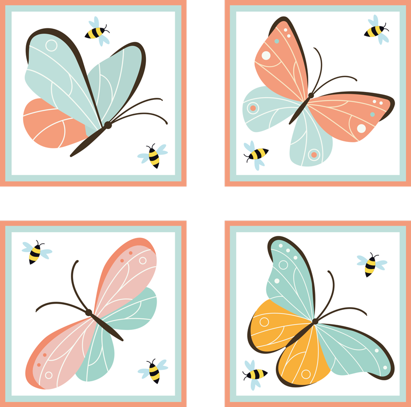 TenStickers. butterflies and bees butterfly coaster set. Beautiful butterfly and bee drink coaster. Enjoy our original set of butterfly drink coaster by choosing a pack category from any of the options.