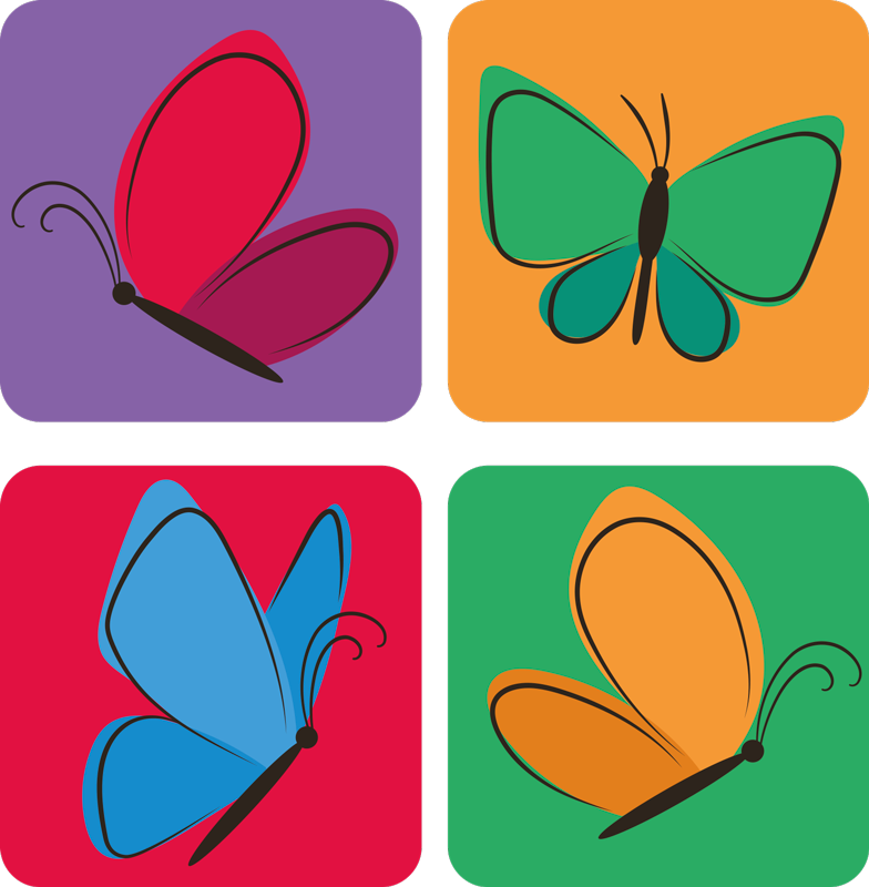 TenStickers. Butterflies Flying for kids butterfly coaster set. Flying butterfly design of drink coaster. The design comes in different colours and style, enjoy our collection set of butterfly drink coaster