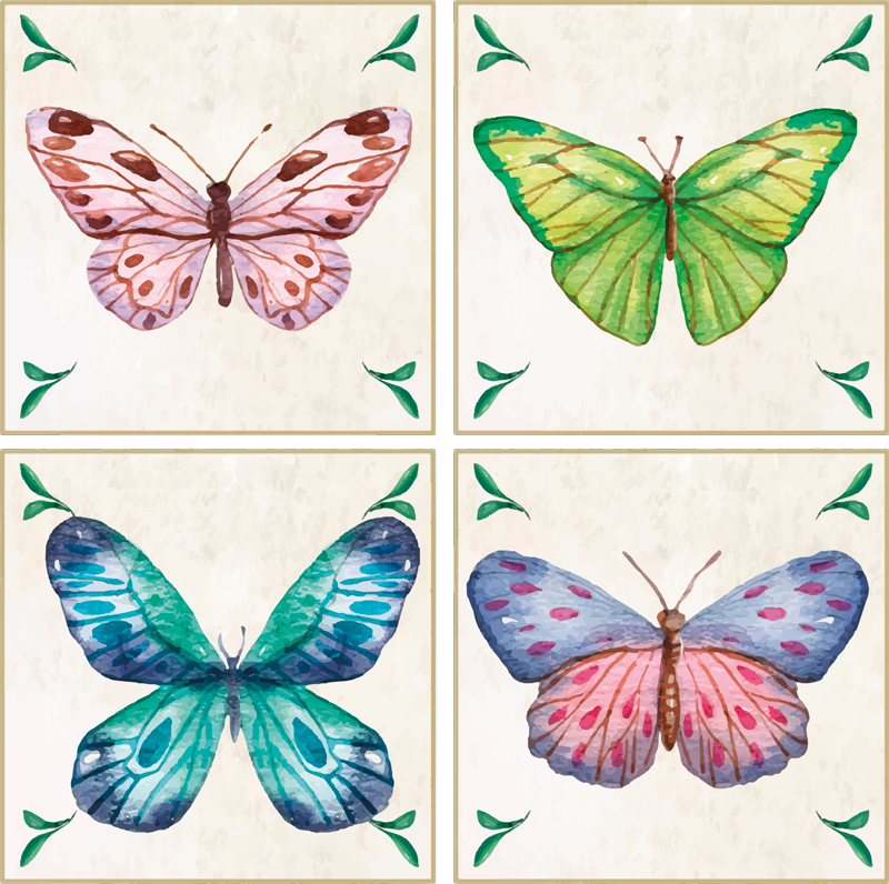 TenStickers. butterflies tiles butterfly coaster set. Wonderful and colorful butterfly coasters to decorate your dining or kitchen table. Add them to your cart and receive them at the door of your house!