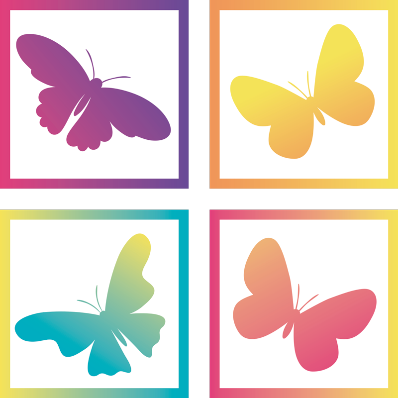 TenStickers. Gradient Butterflies butterfly coaster set. Colorful yellow and purple coasters to decorate your house or restaurant and make drinking more fun. Worldwide delivery!