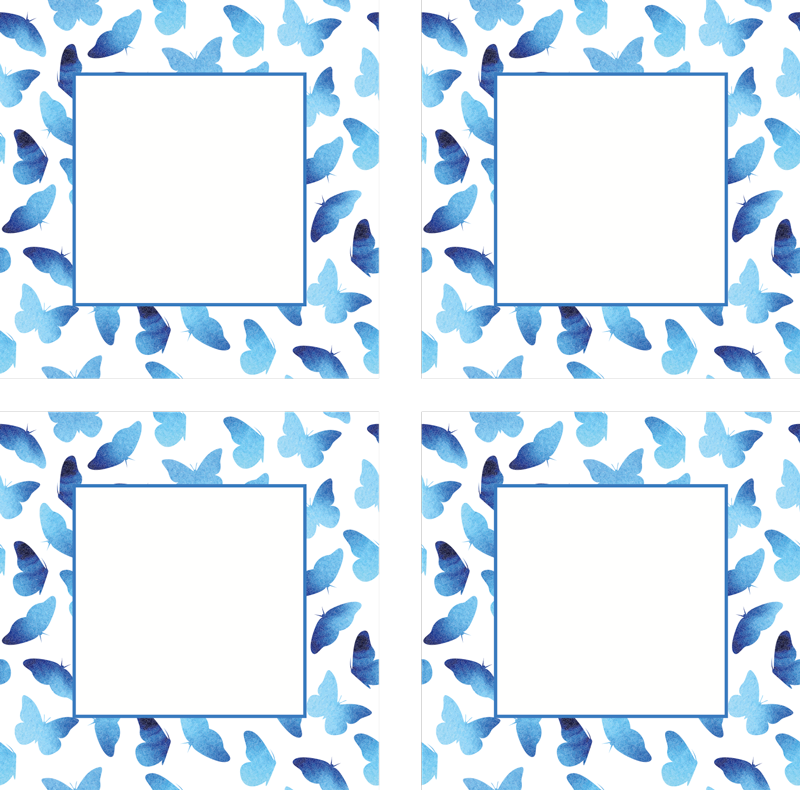 TenStickers. Sottobicchiere di farfalle dipinte. Semplice sottobicchiere a farfalla blu per posizionare tutte le tue tazze senza danni. è originale, durevole e ha un'elevata capacità di resistenza agli effetti esterni