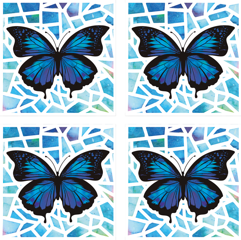 TenStickers. Trendy pattern mosaic butterfly coaster set. Blue butterfly drink coaster  with a mosaic patterned background.  Suitable for home and restaurant space. Available in different pack sets.
