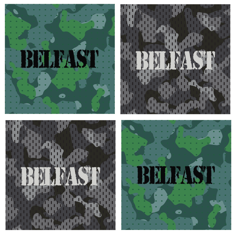 TenStickers. Belfast army more coasters. Army texture drink coaster. The army camouflaged drink coaster is available in different patterns.. Easy to maintain and of high quality material.