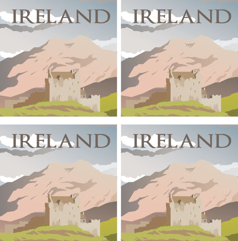 TenStickers. Irish castle more coasters. With our land scape drink coaster design you can have a bit of Ireland landmark features. This original drink coaster design is featured landmark.