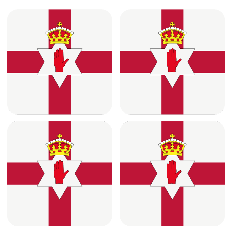 TenStickers. Love northern Ireland more coasters. Charming table set featuring a northern Ireland flagg on a white background, perfect for each table. Extremely durable material.