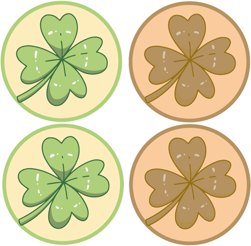 TenStickers. Shamrock St Patrick's day more coasters. Charming emoji table set featuring a shamrock St Patrick's day design - for a restaurant or your home. Extremely durable material.